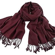 Locura® Bufanda - Otoño y invierno 2017 -ZARA Moda Unisex- Bufanda Larga Mantón Pañuelo con 100% Algodón en Espiguilla con Borlas Suave Elegante