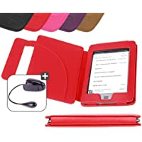 """DURAGADGET Funda Roja De Cuero En Estilo De Libro Para El Nuevo Kindle Touch, Wi-Fi,6"""" De Amazon (Última Generación, Marzo 2012) + Luz LED De Lectura Clip On"""