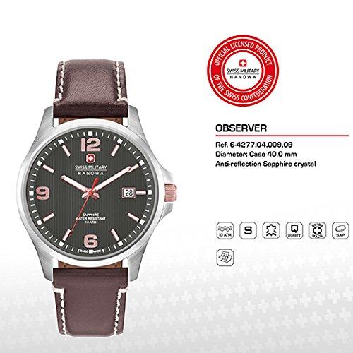 SWISS MILITARY-HANOWA Herren Analog Quarz Uhr mit Leder Armband 06-4277.04.009.09