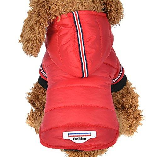 Ropa para mascotas ,RETUROM Invierno abrigo chaqueta caliente para mascotas perro (rojo,...