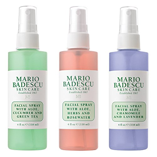 Mario Badescu Spritz Mist and Glow Facial Spray Collection, 3 Piece Set - Lavender, Cucumber, Rose -