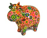 Spardose Kuh Rita mit Blumen, Käfer oder Kreisen. Bunte Keramikspardosen von Pomme Pidou (rosa)