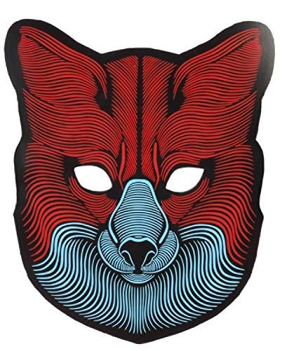 ren Teenager LED Sound Reactive Licht Up Wolf Tier Maske Karneval Festival Halloween Kostüm Zubehör ()