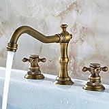 Europäische Badezimmer Antik Kupfer dreiteilige Wasserhahn heißen und kalten Mischbatterie Waschtischarmatur Bad Wasserhahn