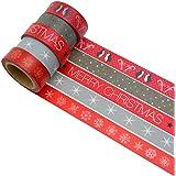 K-LIMIT 5 Set Washi Tape rollos de Washi Tape, cinta decorativa autoadhesivo, cinta de enmascarar, masking tape Scrapbooking DIY idea del regalo Navidad Christmas 6195
