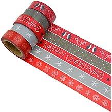 K-LIMIT 5er Set Washi Tape Dekoband Masking Tape Klebeband Scrapbooking DIY Weihnachten Christmas 6195