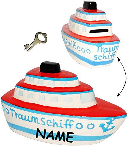 alles-meine.de GmbH große Spardose - 3-D Effekt _  Traumschiff - Schiff  - incl. Name - mit Schlüssel - Stabile Sparbüchse aus Porzellan / Keramik - Sparschwein - für Kinder & ..