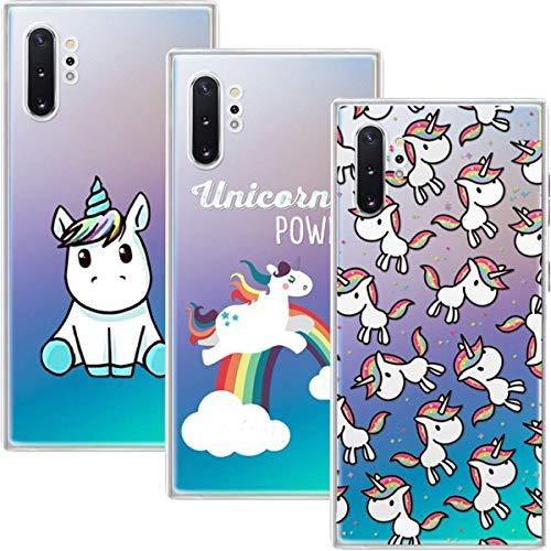 Young & Ming Funda Galaxy Note 10 Plus, (3 Pack) Transparente TPU Silicona Carcasa Delgado Antigolpes Resistente, Unicornio
