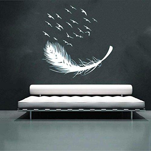 federn wandtattoo Lenfesh DIY Abnehmbare Vogel Feder Wandtattoo Familie Home Aufkleber Wand Kunst Home Decor (Weiß)