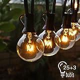 Lichterkette Außen, Lichterkette Glühbirne Aussen,USBOO G40 25FT Lichterkette Garten, Wasserdicht (25 Birnen,3 Ersatzbirnen, gelbliches Licht)