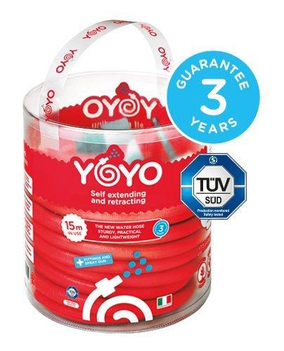 Yoyo die innovative ausziehbar Wasser Schlauch mit Armaturen und Sprühpistole. 15m in Gebrauch