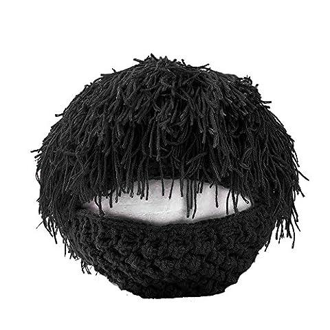 Internet Beard Wig Hats Handmade Knit Warm Winter Caps for Men Women Kid Black