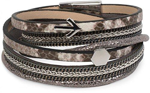 style-breaker-wickelarmband-con-catene-e-freccia-scintillante-tessuto-nastro-chiusura-magnetica-brac