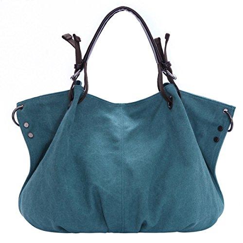 Segeltuchbeutel Europäische Und Amerikanische Art Und Weise Wild Retro Frauen Große Tasche Laptop Messenger Schultertasche Freizeit Personalisierte Multifunktionale Taschen Blue