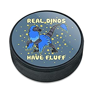 Graphics and More Real Dinos Have Fluff Raptor Dinosaurier Eishockey Puck