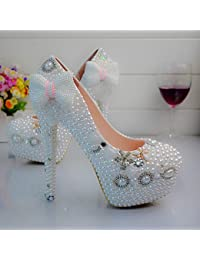 JINGXINSTORE Boda blanca del tacón alto del zapato del club de la bola de la boda del arco de la perla, UK9, 14CM...