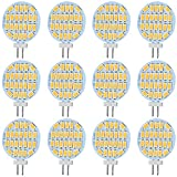 Jenyolon G4 LED Warmweiss Lampen 3W 10-30V AC/DC, 12V, 24V, 3000K, 400Lm, Ersatz für 30W Halogenlampen Glühlampen, LED G4 Stiftsockellampe Leuchtmittel Birne Licht, 110°Abstrahlwinkel, 12er Pack