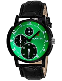 Golden Bell Original Green Dial Black Strap Analog Wrist Watch For Men - GB-940