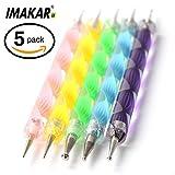 imakar® Accesorios de Manicura y Pedicura Nail Art Déco de uñas: Kit/juego de 5(punta doble con Décor para las uñas