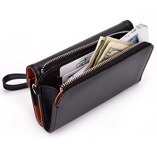Kroo d'embrayage portefeuille avec dragonne et sangle bandoulière pour Samsung Galaxy Young Smartphone Black and Purple Black and Orange