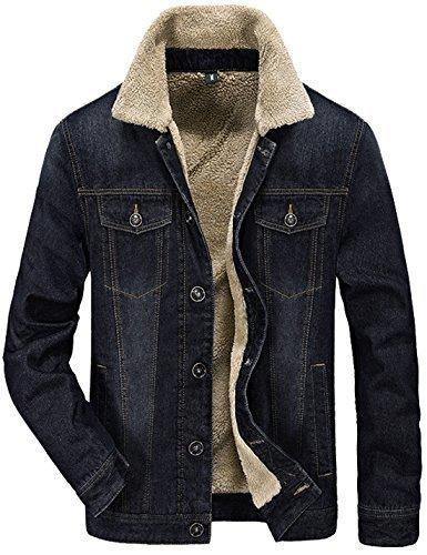 Tanming Herren Winter Casual Gefüttert mit Kaschmir Warm Denim Jacke - Schwarz - Klein Junior Fashion Denim Jacke