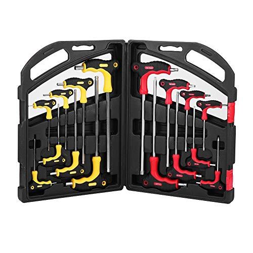 T-Schraubenschlüssel-Set, 16-teilig, T-Griff, Torx und Sechskant-Kugelkopf Schraubendreher-Set