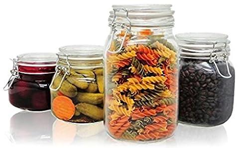 Priorité Chef 4pièces en verre bocaux, parfait pour ranger Café, sucre, farine, ou bonbons, vous permet de garder Bugs Out
