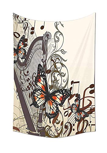 daawqee Butterflies Tapestry Wall Hanging Harp Ornament and Butterflies Classic Musical Instrument Concert Theme Bedroom Living Room Dorm Decor Unique Home Decor
