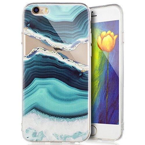 Custodia Cover iPhone 6/6S 4.7 Silicone Morbido,Ukayfe Ultra Slim Protezione Corpeture Case per iPhone 6/6S 4.7 in Gel TPU con Creativo Bella Pittura Disegno Acqua di Mare ,Soft Protettiva Custodia Br Onde 3#
