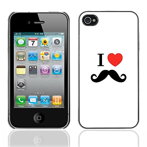Graphic4You Mustache Schnurrbart Lustig Design Harte Hülle Case Tasche Schutzhülle für Apple iPhone 4 und 4S Design #6