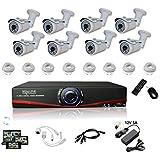 Kit Vidéosurveillance IP NVR + 8 caméras IP-1300 + 8x 20m RJ45 + 8x adaptateurs DC/RJ45 + 1/8 splitter + Alim