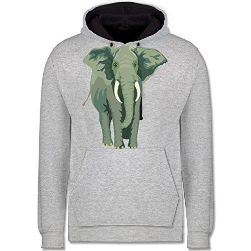 Wildnis - Elefant - Kontrast Hoodie Grau meliert/Dunkelblau