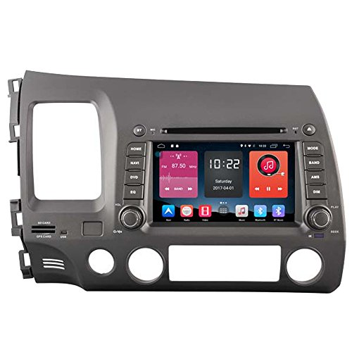 autosion 17,8 cm in Dash Android 6.0 Auto DVD-Player Radio Head Unit GPS Navigation Stereo für Honda Civic 2006 2007 2008 2009 2010 2011 unterstützt Bluetooth SD USB Radio OBD WIFI DVR 1080P (Honda Civic 2007-navigation)