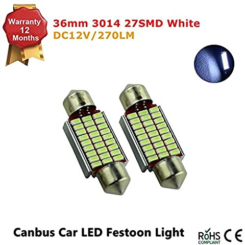 Super Bright 3014 Chipsets Error Free 1.42 inches 36mm 27 LED Interior Map Dome Lights, Ice Blue (Pack of 2