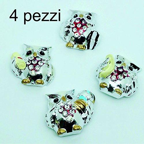 Gufetti tocco bomboniere laurea fai da te sacchetti e accessori vari per il confezionare bomboniere (4 calamite gufetti con strass 2,90€)