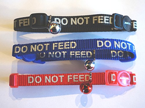 PARADISE PETS ANCOL BULK DEAL DO NOT FEED CAT COLLARS X 3 BLACK RED AND BLUE WITH REFLECTIVE WRITING BELL AND SAFETY RELEASE BUCKLE BY ANCOL