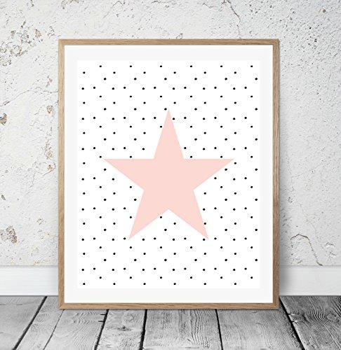 HEART OF PRINT Kinderposter Kinderzimmerbild mit Stern Rosa - für Mädchen, Baby, Kind - Geschenkidee zur Geburt, Taufe, Geburtstag; Poster Kinderzimmer Wandbild, skandinavisch - ungerahmt