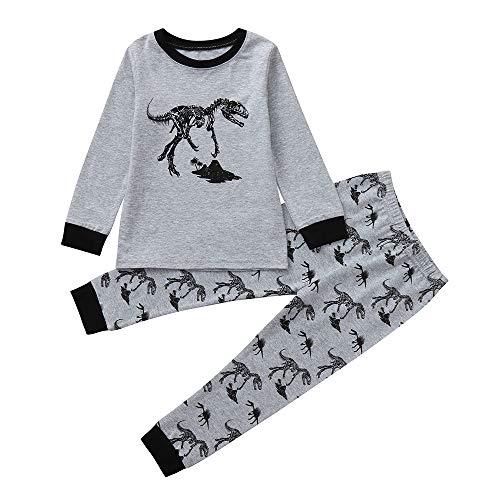 Rosennie Kinder Baby Jungen Mädchen Cartoon Print Tops + Cartoon Floral Pant Set Kleidung Mode Langram Bluse + Hosen Outfits Kleinkind Herbst Nachtwäsche Paar Hemd+Hose Pajamas Set (Grau,110)