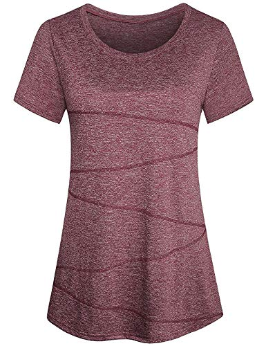 Sykooria T-Shirt Sport Kurzarm Teenager Mädchen Schnelltrocknend Ausgestellt Flowy Sportshirt Damen Yoga Shirt Weinrot