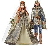 Barbie Signature coffret de poupée de collections Faraway Forest, roi brun et reine rousse en tenues de mariages, jouet collector, FJH81
