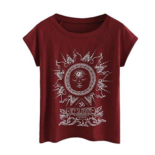 Lucky mall Damenmode Plus Größe T-Shirt, Brief Gedruckt O-Neck Kurzarm-Tops