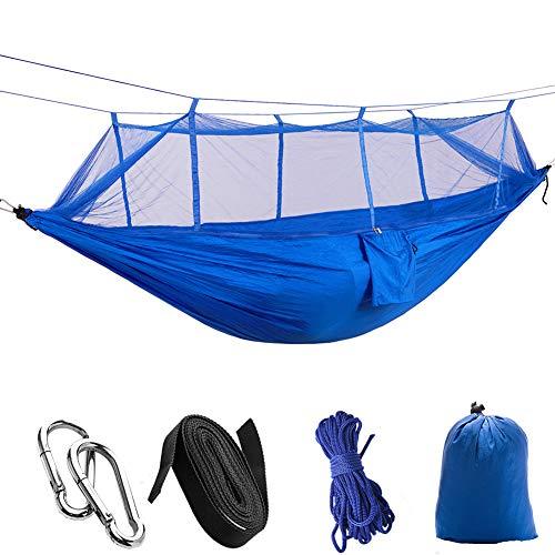 ATYMD Outdoor Hängematte Zelt Fallschirm Tuch Hängematte mit Moskitonetz Ultraleicht Nylon Doppel Multi-Color Camping Luftzelt,Blue