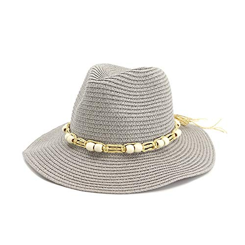 S.Y.MMSY Frauen Hut Strohhut Lady Visor Hut White Jazz Hut Outdoor Seaside White Beads Zier Spreu Seil Sonnencreme Strand Sonnenhut Einstellbar (Farbe : Grau, Größe : 56-58CM) (Womens White Angel Kostüm)
