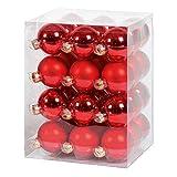 36x GLAS CHRISTBAUMKUGELN 6cm ROT GLANZ + MATT WEIHNACHTSKUGELN BOX DOSE KUGEL