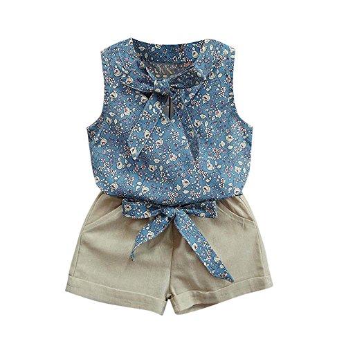 Babykleidung Honestyi Kleinkind Kinder Baby Mädchen Floral Bowknot Weste T Shirt + Shorts Outfits Kleidung Set (Blau,120)