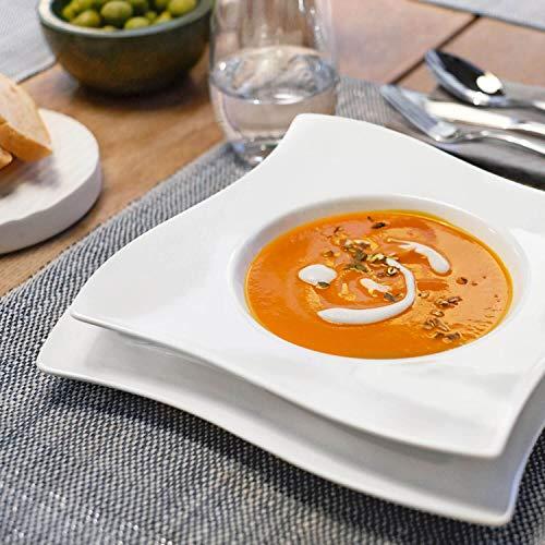 Villeroy & Boch NewWave Dinnerset / quadratische Suppenteller und Speiseteller in geschwungener Form aus edlem Porzellan / 1 x Set (8-teilig) - 2