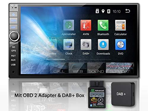 Tristan Auron BT2D7020A Autoradio + DAB+ Box und OBD 2 Adapter. Android 8.1, 7'' Touchscreen Bildschirm, GPS Navi, Bluetooth Freisprecheinrichtung, Quad Core, USB/SD, OBD 2, DAB, 2 DIN