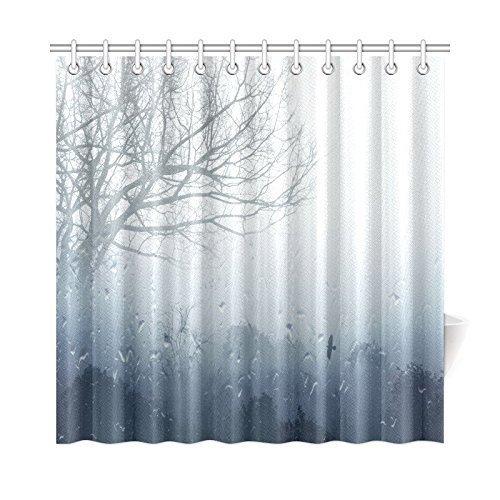 Z&L Home Regnerische Szene Mystic Foggy Forest Decor, Kunst Romantische Fenster Wasser Tropfen Szene Melancholie Therapie Einsamer Baum Einzigartige Badezimmer Dusche Vorhang 36