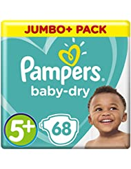 Pampers Baby-Dry Air Channels For Breathable Dryness Overnight and Extra Night Absorption, 68 Nappies, 12-17 kg, Size 5+