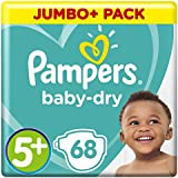 Pampers Baby-Dry 68 Nappies with 3 Absorbing Channels, 13 - 25 kg, Size 5+